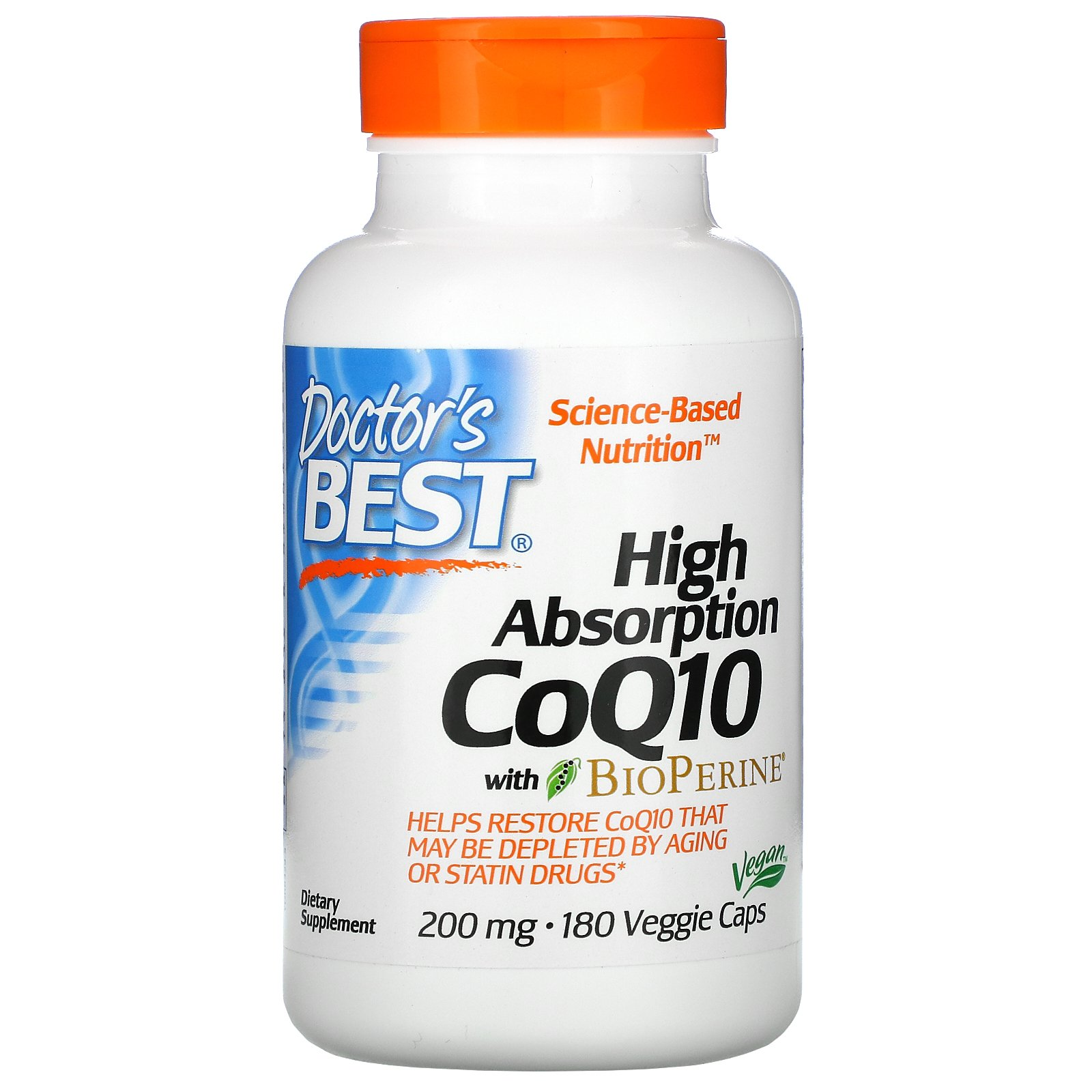 DOCTORS BEST HIGH ABSORPTION CoQ10 200mg 180 Vegtarianskych tabliet